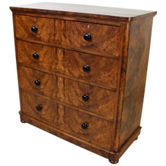 19th Century Victorian Burr Walnut Chest of Drawers