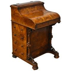 19th Century Victorian Burr Walnut Davenport