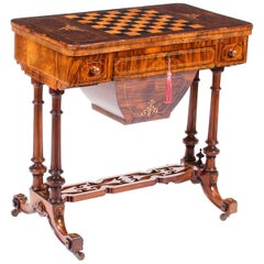 19th Century Victorian Burr Walnut and Inlaid Card Games Work Table