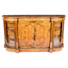 19th Century Victorian Burr Walnut Inlaid Credenza Side Cabinet