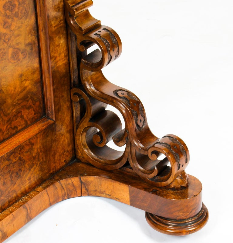 19th Century Victorian Burr Walnut Pop Up Davenport Desk For Sale 9