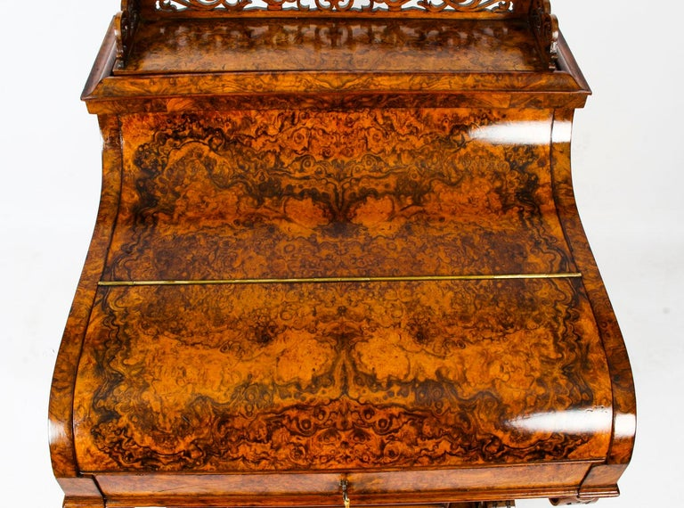 19th Century Victorian Burr Walnut Pop Up Davenport Desk For Sale 10
