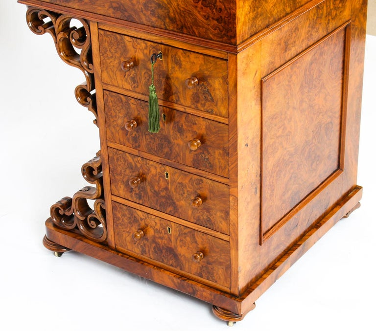 19th Century Victorian Burr Walnut Pop Up Davenport Desk For Sale 13