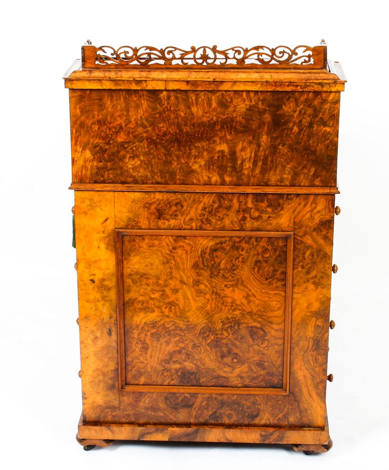 19th Century Victorian Burr Walnut Pop Up Davenport Desk For Sale 14