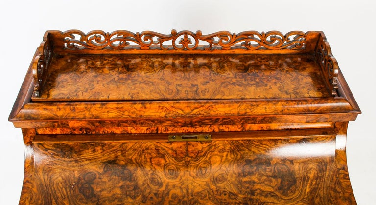 English 19th Century Victorian Burr Walnut Pop Up Davenport Desk For Sale