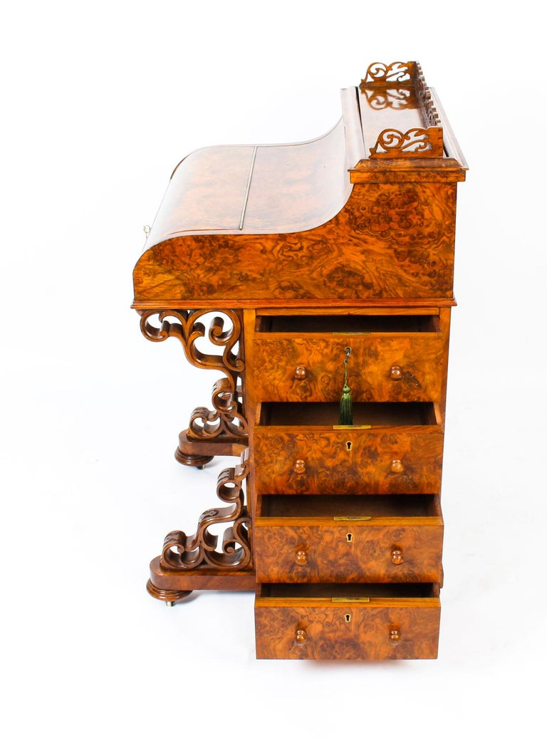 Mid-19th Century 19th Century Victorian Burr Walnut Pop Up Davenport Desk For Sale