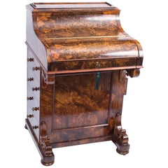 19th Century Victorian Burr Walnut Pop Up Davenport Desk