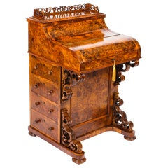 19th Century Victorian Burr Walnut Pop Up Davenport Desk