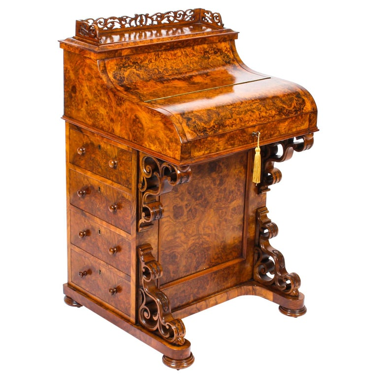 19th Century Victorian Burr Walnut Pop Up Davenport Desk For Sale