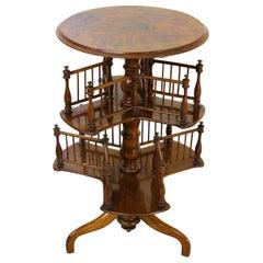 19th Century Victorian Burr Walnut Revolving 2-Tier Book Table