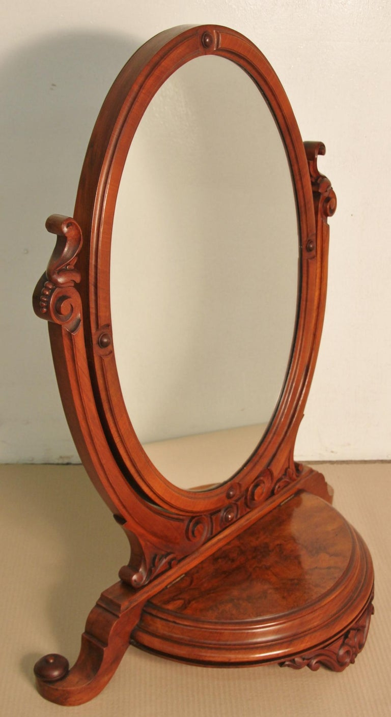 19th Century Victorian Burr Walnut Toilet Mirror For Sale 2