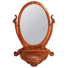 19th Century Victorian Burr Walnut Toilet Mirror