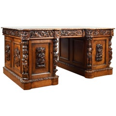 19th Century Victorian Carved Oak Desk