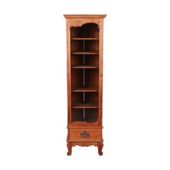 19th Century Victorian Carved Oak Narrow Glass Front Bookcase or Display Cabinet