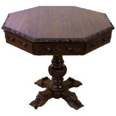 19th Century Victorian Carved Oak Octagonal Center Table