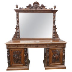 19th Century Victorian Carved Oak Sideboard