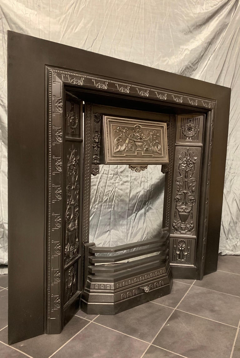 Scottish 19th Century Victorian Cast Iron Fireplace Insert For Sale