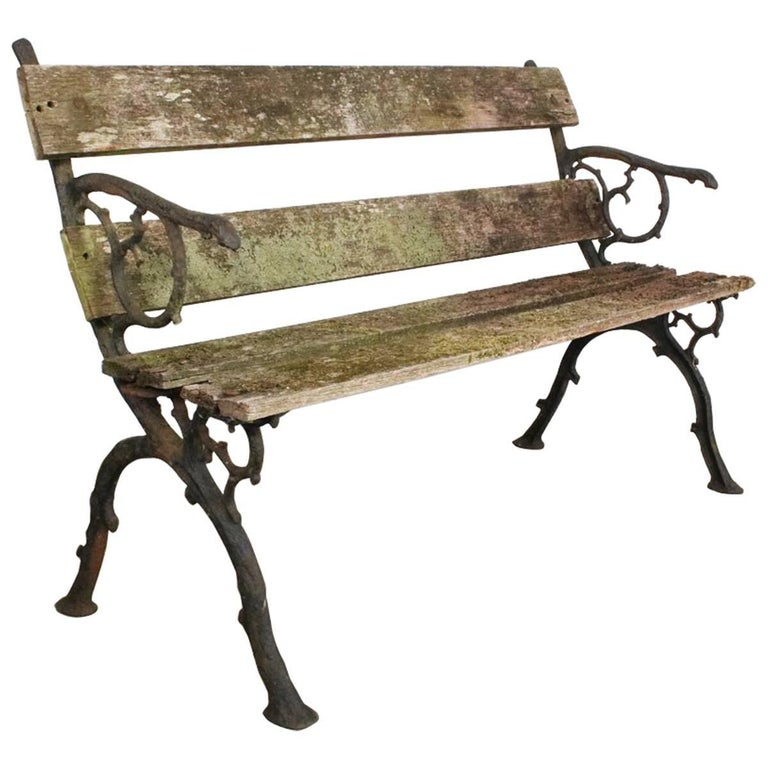 19th Century Victorian Cast Iron Garden Bench For