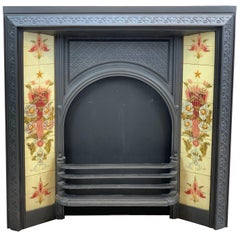 19th Century Victorian Cast Iron Tiled Fireplace