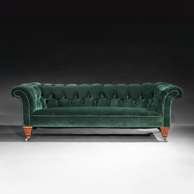 English 19th Century Victorian Chesterfield Sofa Upholstered in a Green Velvet C Hindley