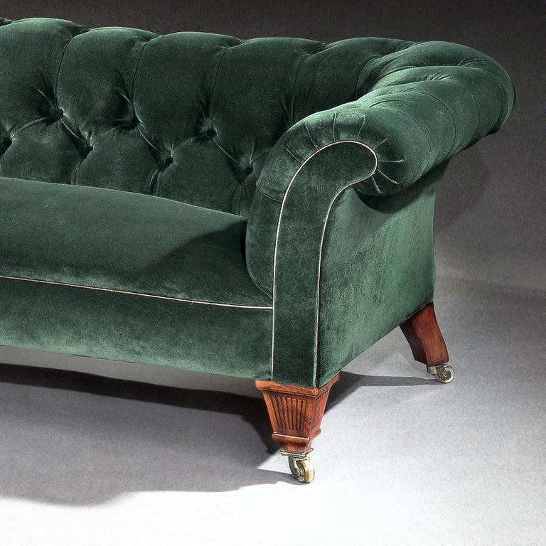 19th Century Victorian Chesterfield Sofa Upholstered in a Green Velvet C Hindley 1