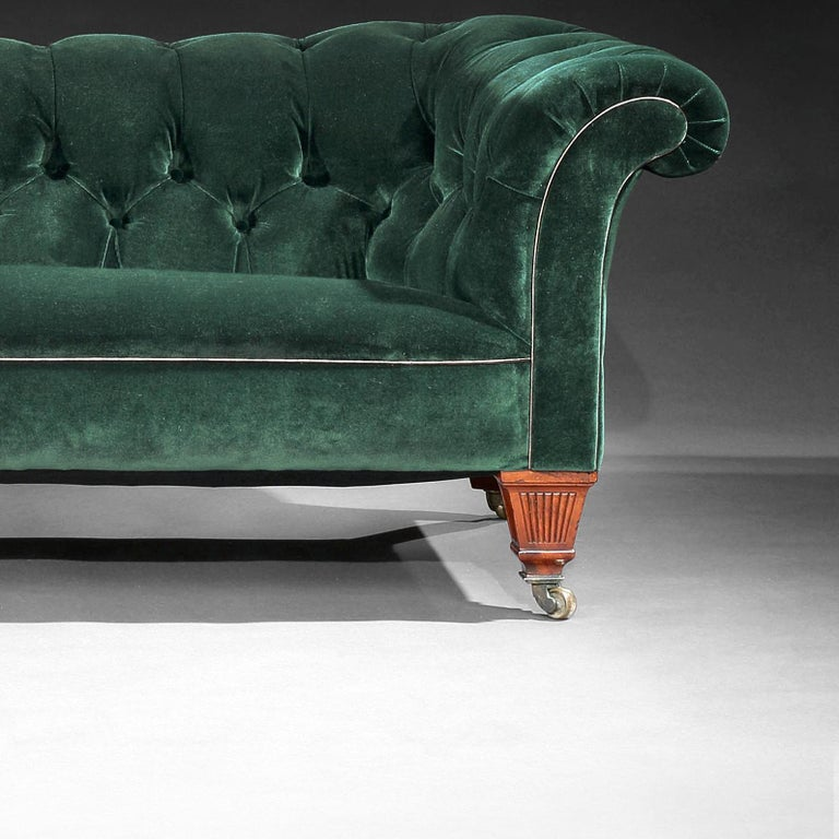 19th Century Victorian Chesterfield Sofa Upholstered in a Green Velvet C Hindley 3