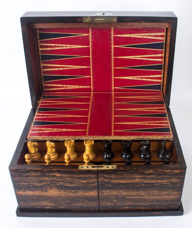 19th Century Victorian Coromandel Games Compendium Chess Drafts For Sale 5