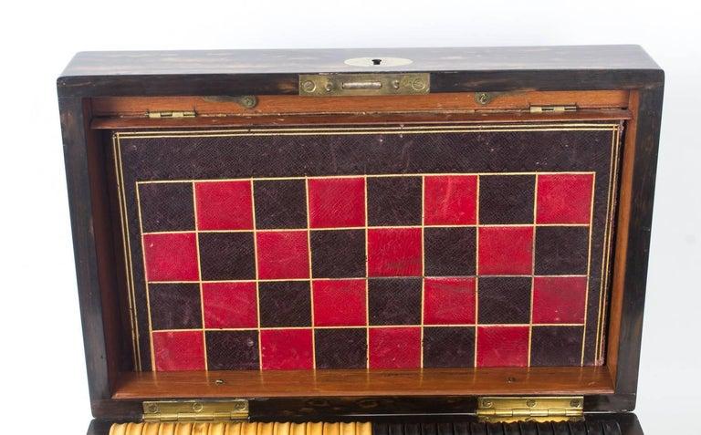 English 19th Century Victorian Coromandel Games Compendium Chess Drafts For Sale