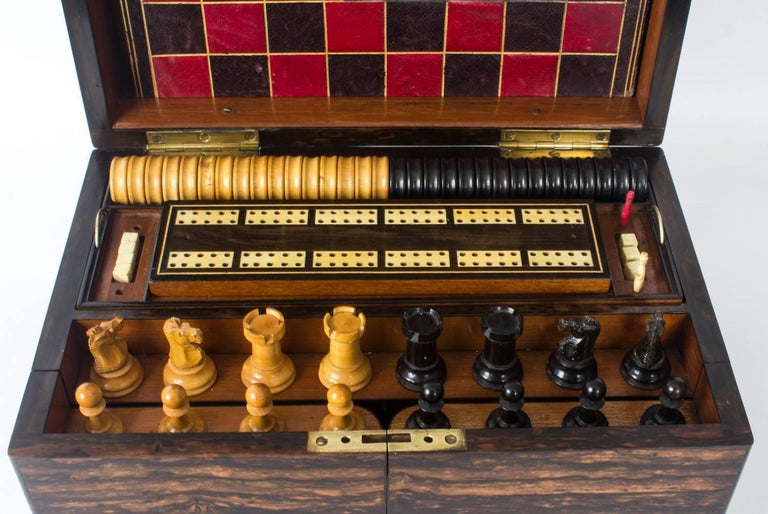 19th Century Victorian Coromandel Games Compendium Chess Drafts In Excellent Condition For Sale In London, GB