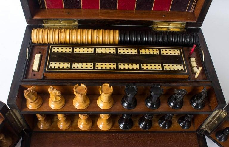 Mid-19th Century 19th Century Victorian Coromandel Games Compendium Chess Drafts For Sale