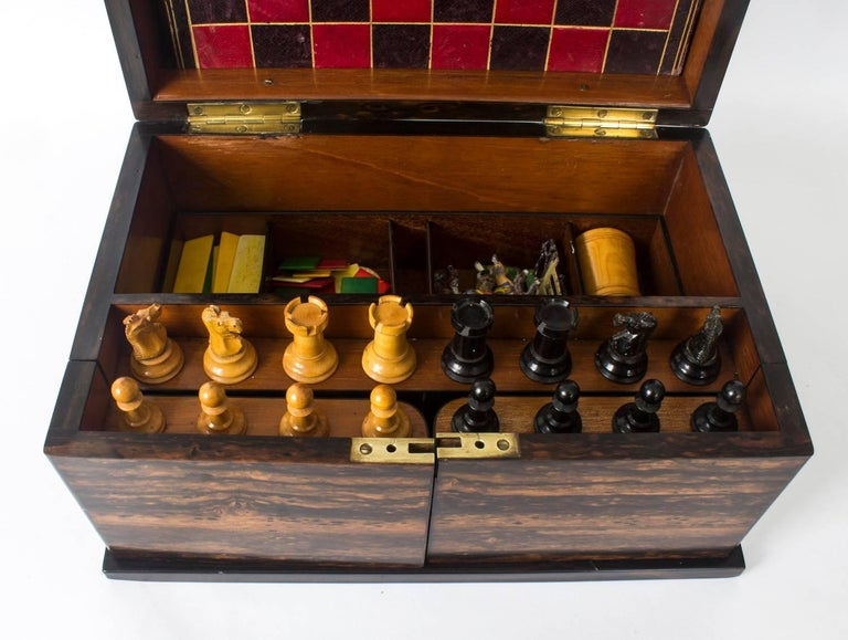 Leather 19th Century Victorian Coromandel Games Compendium Chess Drafts For Sale