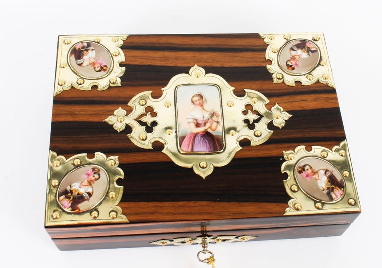 19th Century Victorian Coromandel and KPM Porcelain Jewelry Casket For Sale 7