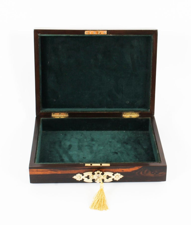 English 19th Century Victorian Coromandel and KPM Porcelain Jewelry Casket For Sale