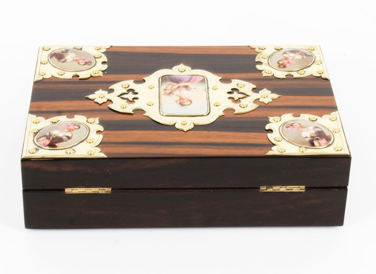 Late 19th Century 19th Century Victorian Coromandel and KPM Porcelain Jewelry Casket For Sale