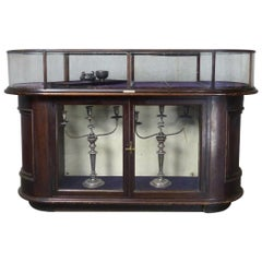 19th Century Victorian Curved Glass Display Case by Curtis, Leeds, England