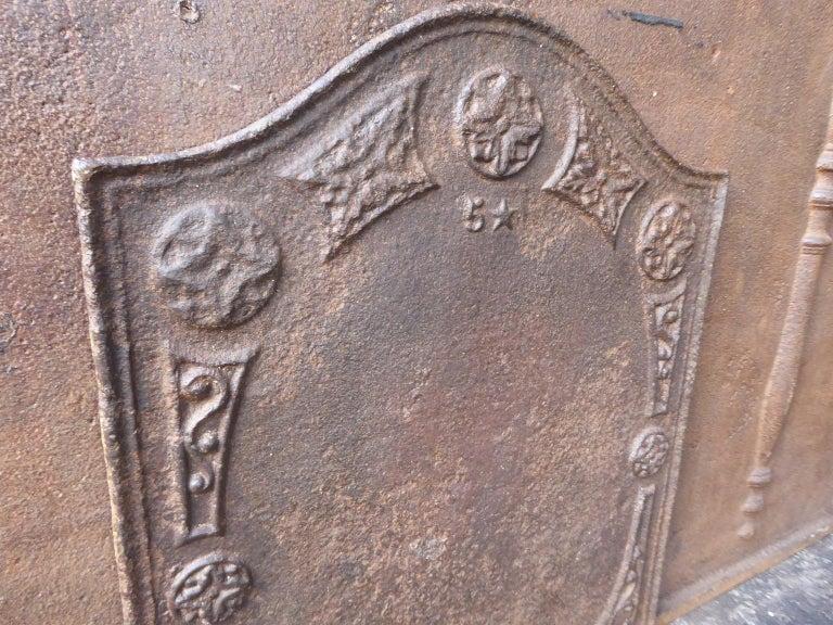 19th Century Victorian 'Decoration' Fireback For Sale 1