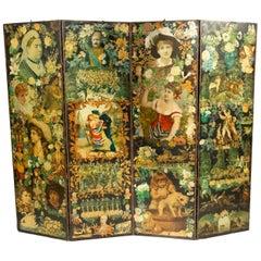 19th Century Victorian Decoupage Screen