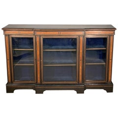 19th Century Victorian Ebonised Breakfront Credenza Bookcase with Burr Walnut