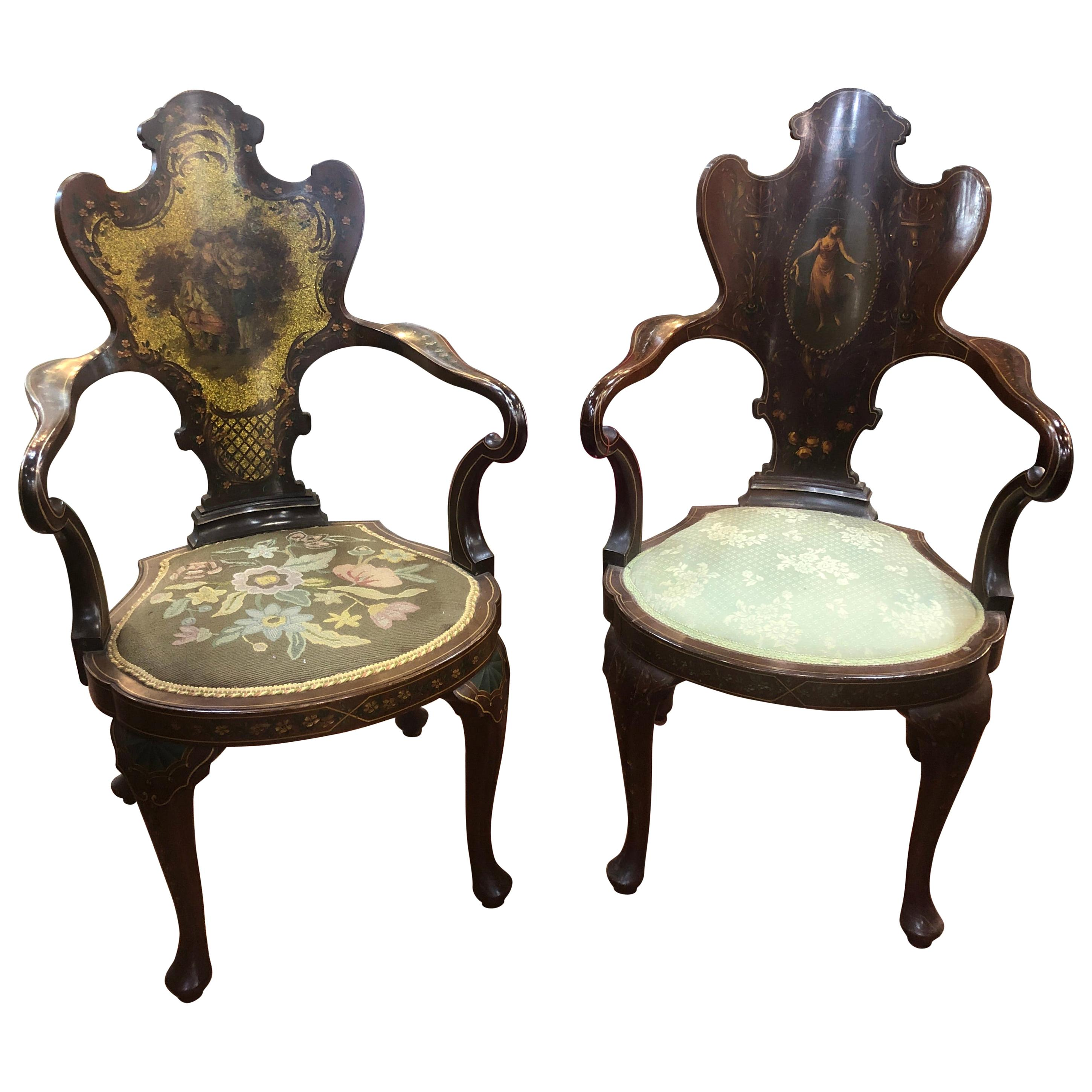 19th Century Victorian Edwards & Roberts Mahogany Painted Pair Armchairs, 1860s