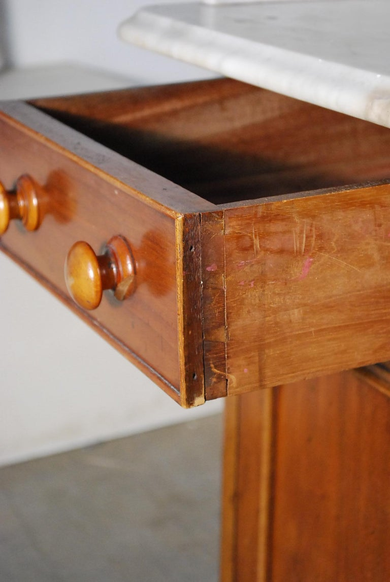 19th Century Victorian English Marble Top Server Console Table For Sale 2