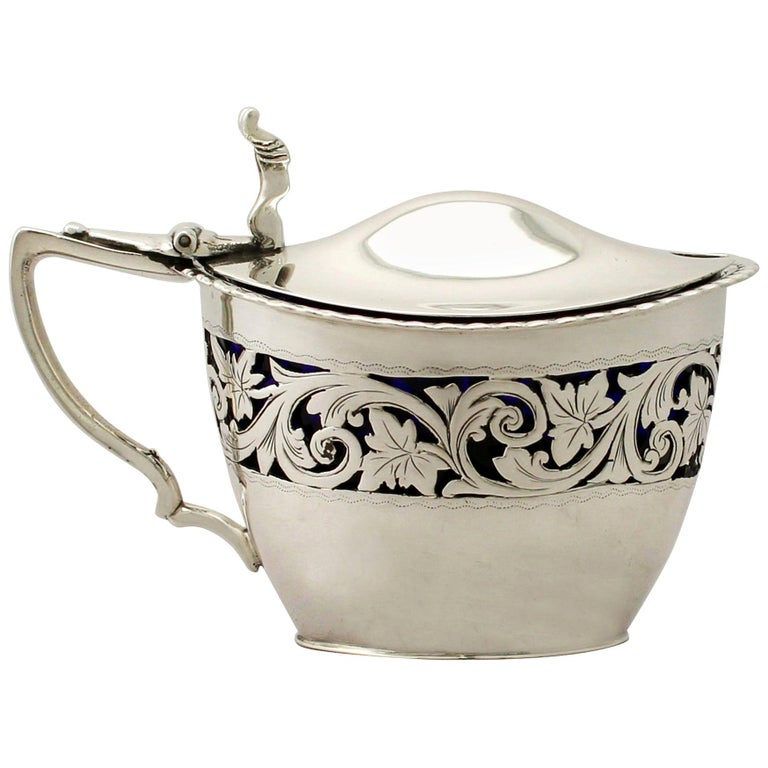 19th Century Victorian English Sterling Silver Mustard Pot 1896 For Sale