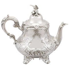 19th Century Victorian English Sterling Silver Teapot