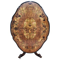 19th Century Victorian Figured Walnut and Marquetry Center Table