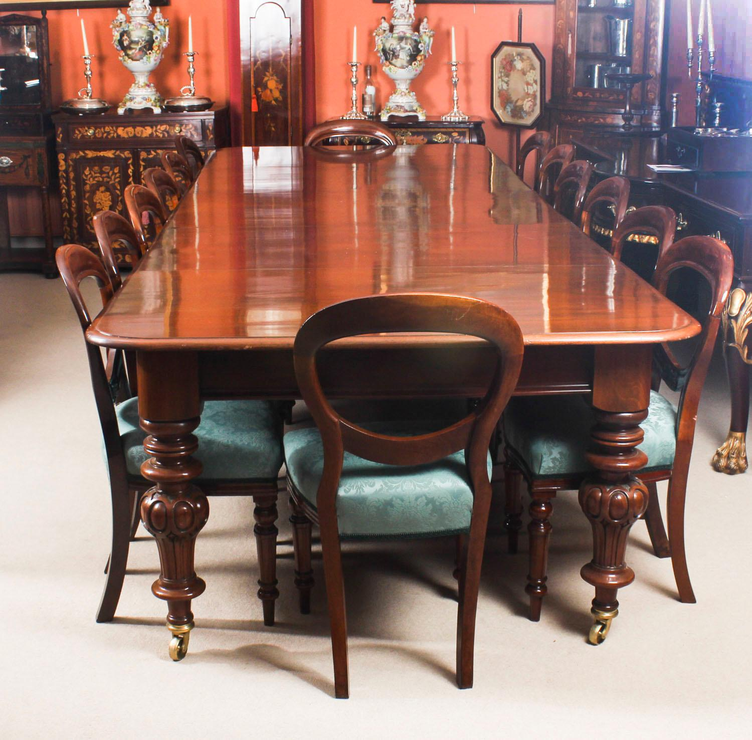 19th Century Victorian Flame Mahogany Dining Table & 14 Antique Chairs