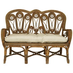 19th Century Victorian French Wicker Loveseats, by Perret et Vibert