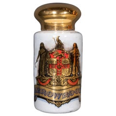 19th Century Victorian Glass & Hand Painted Pharmacy Jar, c.1880