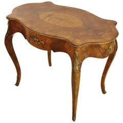 19th Century Victorian Inlaid Burr Walnut Center Table
