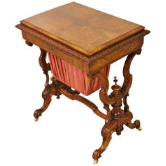 19th Century Victorian Inlaid Burr Walnut Sewing Table