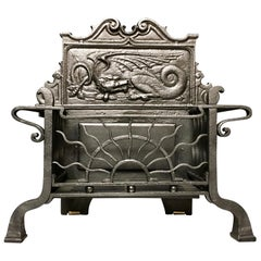 19th Century Victorian Iron Aesthetic Manner Fire Grate Basket and Original Hood