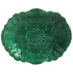 19th Century Victorian Leaves Green Platter Wedgwood